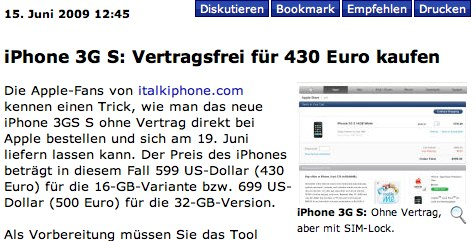 iPhone 3G S_ Vertragsfrei für 430<span style=