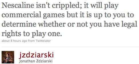 Twitter _ Jonathan Zdziarski_ Nescaline isn_t crippled; ....jpg