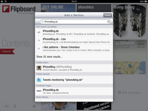 IPhoneBlog de Blekko Flipboard