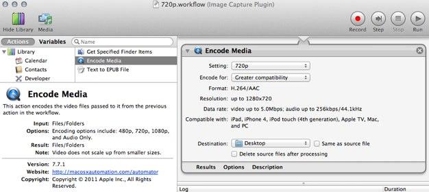 IPhoneBlog de 720p workflow