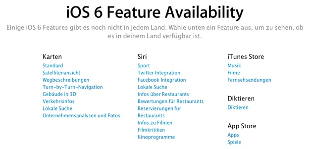 IPhoneBlog de iOS 6 Feature Availability