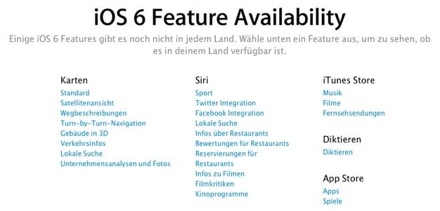 IPhoneBlog de iOS 6 Feature Availability