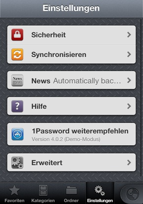IPhoneBlog de 1Password Einstellungen