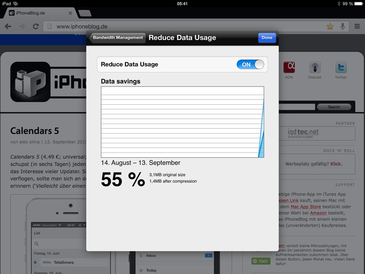 IPhoneBlog de Chrome Bandwidth