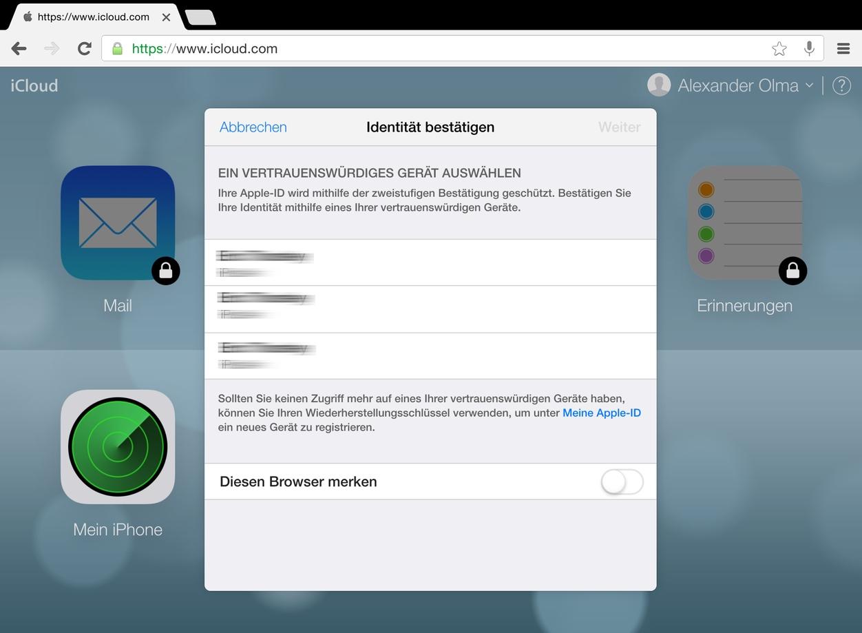 IPhoneBlog de iCloud 2 Faktor