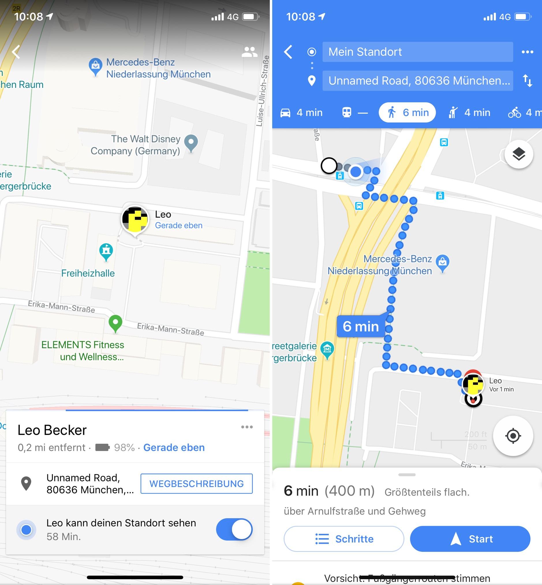 Google Maps: Live-Standort während einer laufenden Navigation teilen on