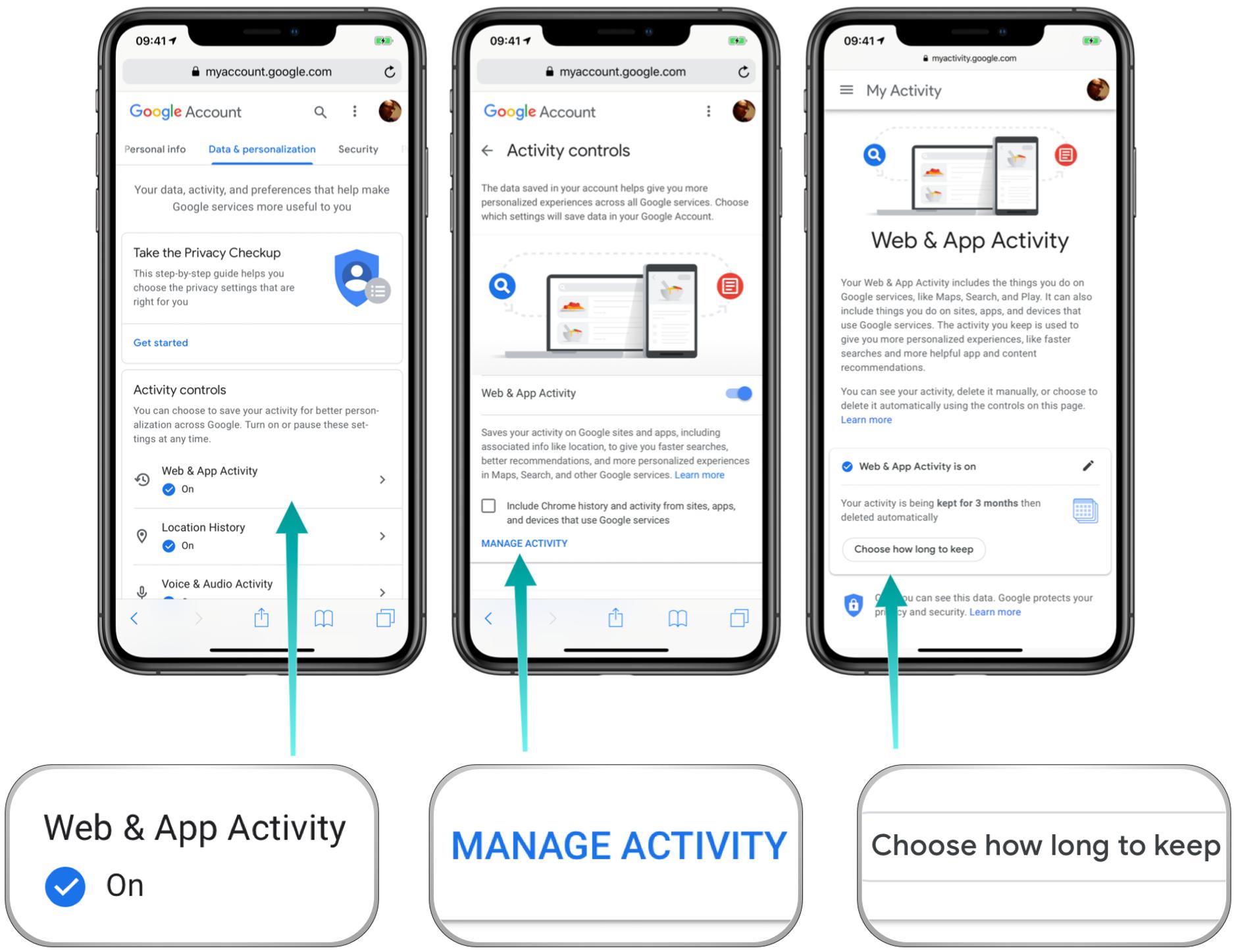 Google bietet die Möglichkeit automatisch eure Web- und Aktivitätsdaten zu löschen