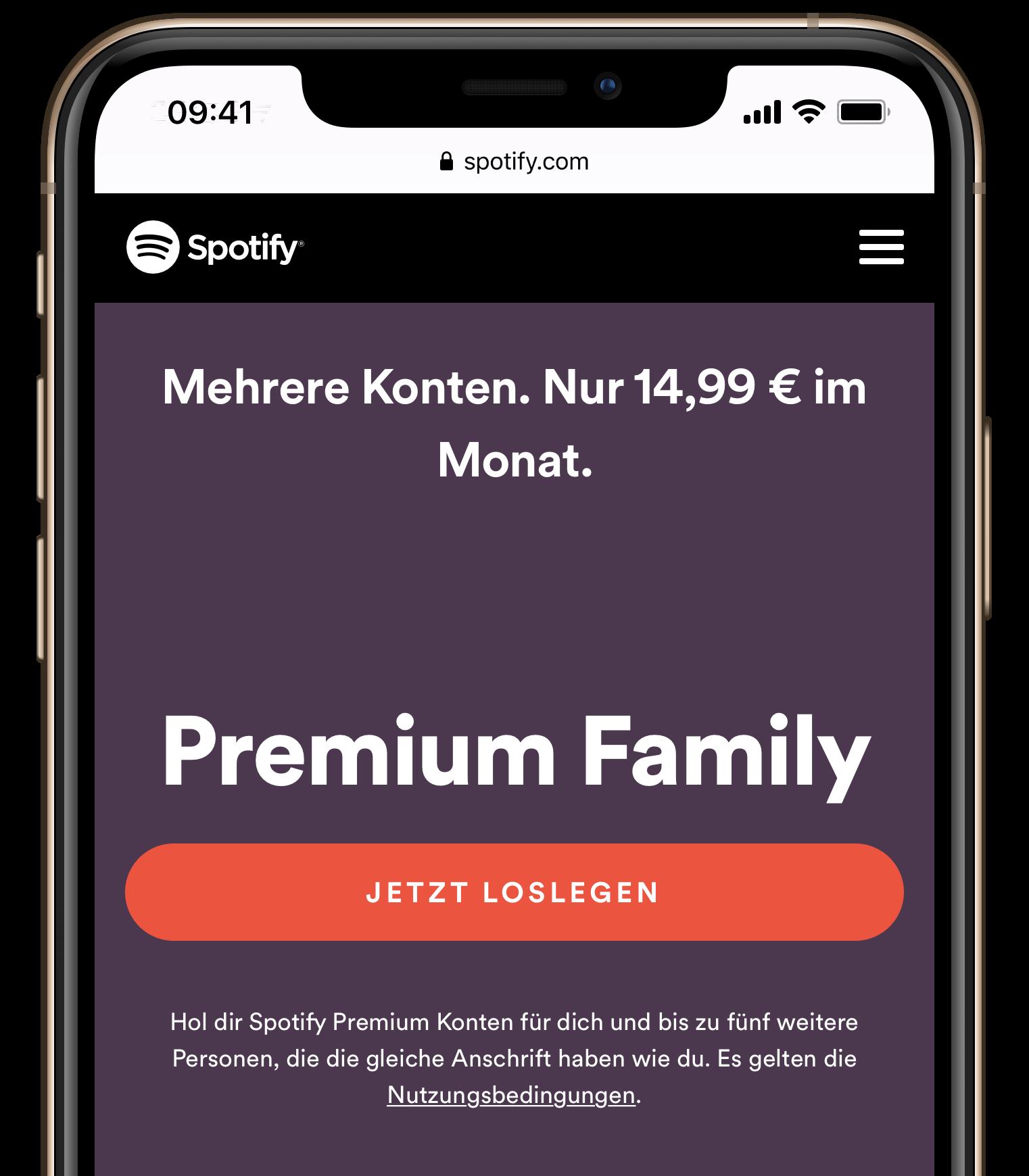 Spotify Family Gleiche Anschrift